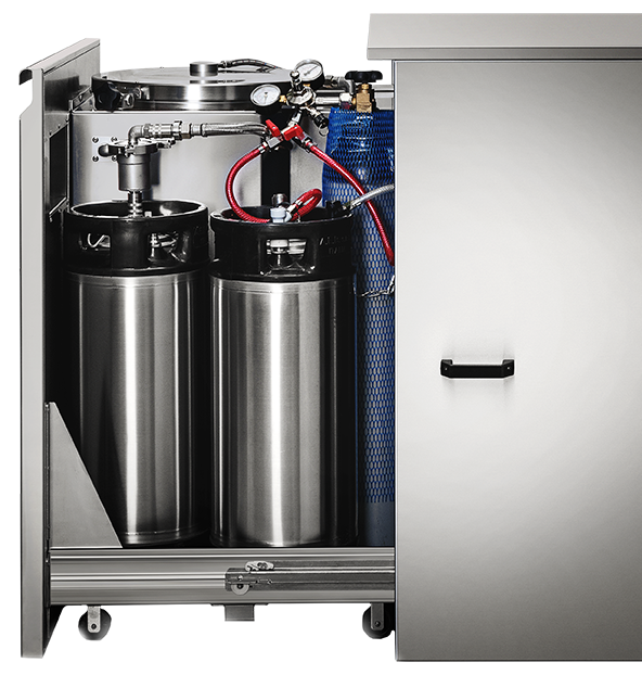 Fast Cold Brew and Nitro Cold Brew maker. Kegs and nitrogen cylinder.